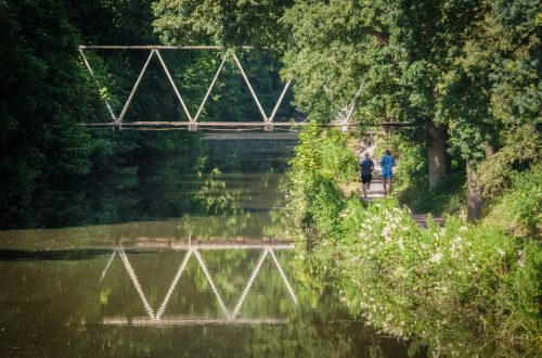 fit male joggers on a canal path run during summer